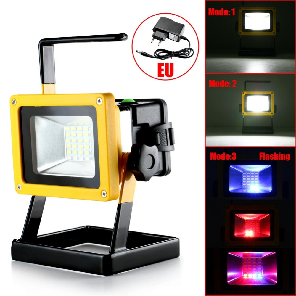 30W Rechargeable Portable LED Spotlight Lamp Floodlight Work Light For Outdoor Camping Hunting Colorful +White Light