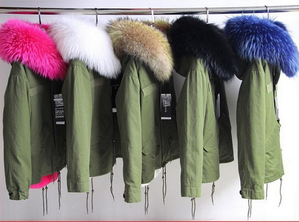 2017 Parkas For Women Winter Army Green Wadded Coat Large natural real fur Collar Thick Jacket