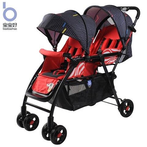 gemeos do bebe carrinhos pode sentar reclinavel dobravel luz dois pneu de carro carrinho duplo