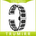 18mm cerâmica & pulseira de aço inoxidável para asus zenwatch 2 mulheres wi502q 45mm huawei watch band butterfly fivela de cinta + ferramentas