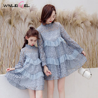 WLG 2019 spring family matching clothes mother and daughter dresses pink blue mesh patchwork princess dress