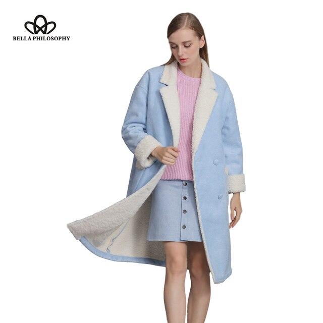 6437e49989488 Bella Philosophy 2016 winter long section faux Suede lamb fur Shearling women  jacket coat Khaki blue