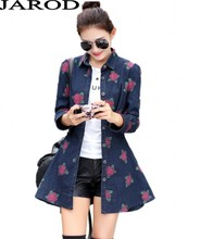2017 New Women autumn Denim Jacket European Style Vintage Floral Print Long Sleeve Turn-Down Collar Slim Fit Jeans Coat