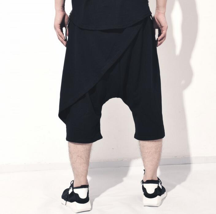Spring summer new male skirt pants mens Hip hop trousers loose harem pants men feet pant personality hanging crotch cross pants