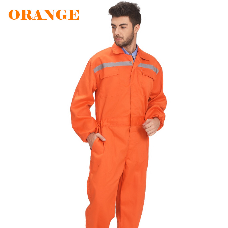 Image 3 - Mens White Orange Blue Reflective Workwear Work coverall strap jumps High Visibility Work Clothing Overalls Free Post-in Safety Clothing from Security & Protection
