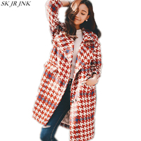 2017 New Women Autumn Winter Red White Plaid Thickened Keep Warm Covered Button Wide Waisted Parkas