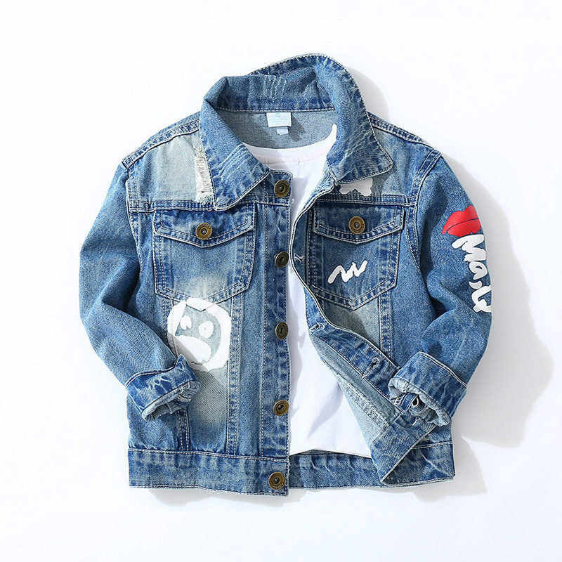 Джинсовая куртка для маленьких мальчиков детская одежда 2019 г. весеннее Детское пальто с длинными рукавами и дырками джинсы для маленьких девочек, Jaqueta Infantil Cascos
