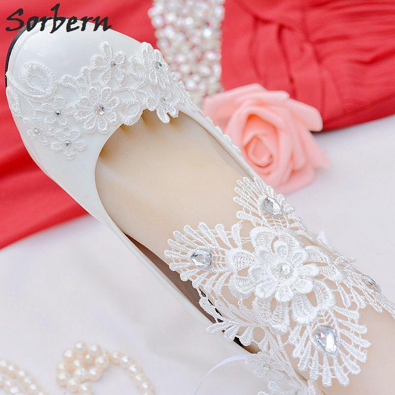 Sorbern Elegant Lace Ankle Straps Wedding Shoes 8Cm High Heels Dress Shoes Pumps Bridals Shoe Kitten Heels Women Slip On Heel kitten heels