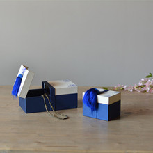 Высокое Качество Китайский Стиль Синий и Белый Кожаный Ящик Для Хранения Ювелирных Изделий Уникальный Дизайн Коробки Хранения с Макраме для Ежедневного Использования