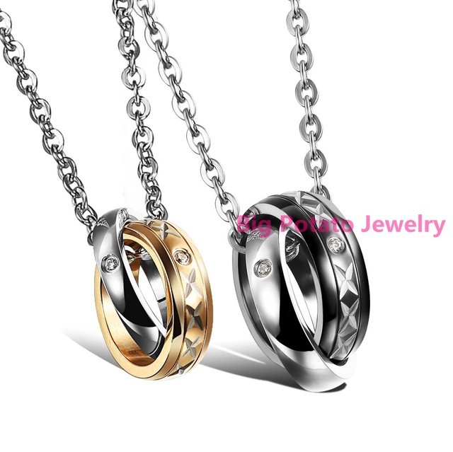 b743aa4773 Hot Sell Romantic Design Couple Jewelry For Lovers 316L Stainless Steel  Double Circle Type Pendant Necklaces
