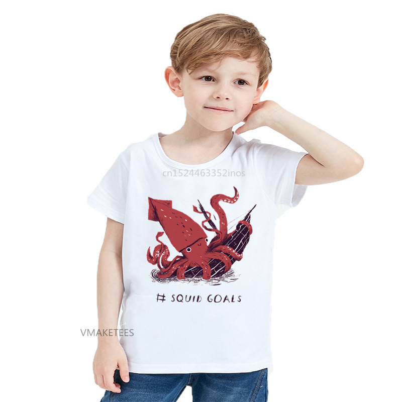 2018 Summer Girls & Boys Short Sleeve T shirt Squid Goals Print T-shirt Baby Kids Funny Octopus Casual Clothing,HKP5673
