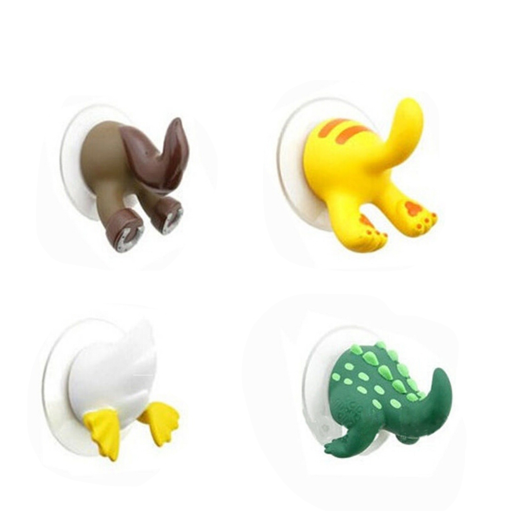 OuYou Colgadores Creativos Ganchos en Forma de Cola Animal Lindos Decorativos con Ventosa para Ni/ños Amarillo