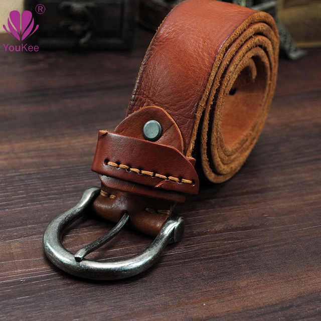 First Layer Top Grade Quality Genuine Cow Leather Belts For Men Brand Retro Business Leather Belt Jeans Girdle For Male GU085