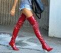 New Outono Inverno Mulheres Botas de Bezerro Patente Calcanhar Transparente Perspex Claro Bloco de Látex Salto Alto Sobre O Joelho Coxa Botas Altas