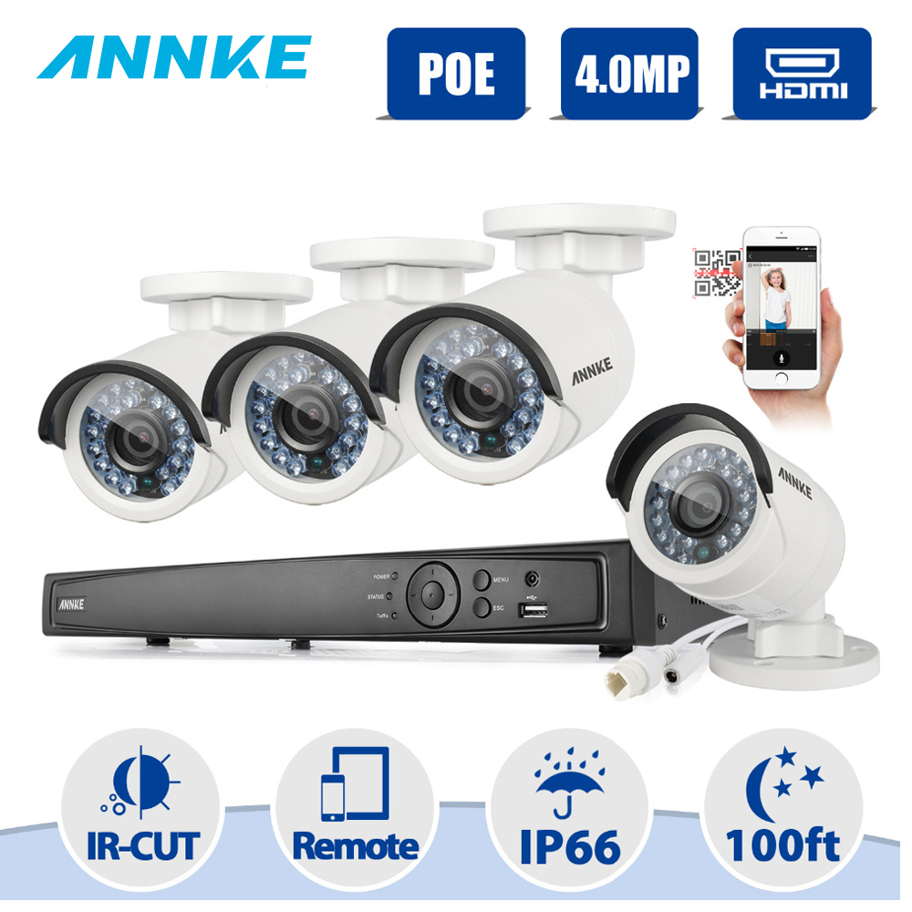 ANNKE Surveillance System 8CH HD 1520P 4MP NVR IP Network PoE IR LED P2P CCTV Camera Security System Surveillance Kit NVR Kits poe nvr kit 8ch cctv system 1080p hdmi poe nvr 8x2 4mp ir mini camera p2p poe power over ethernet cctv security camera kit