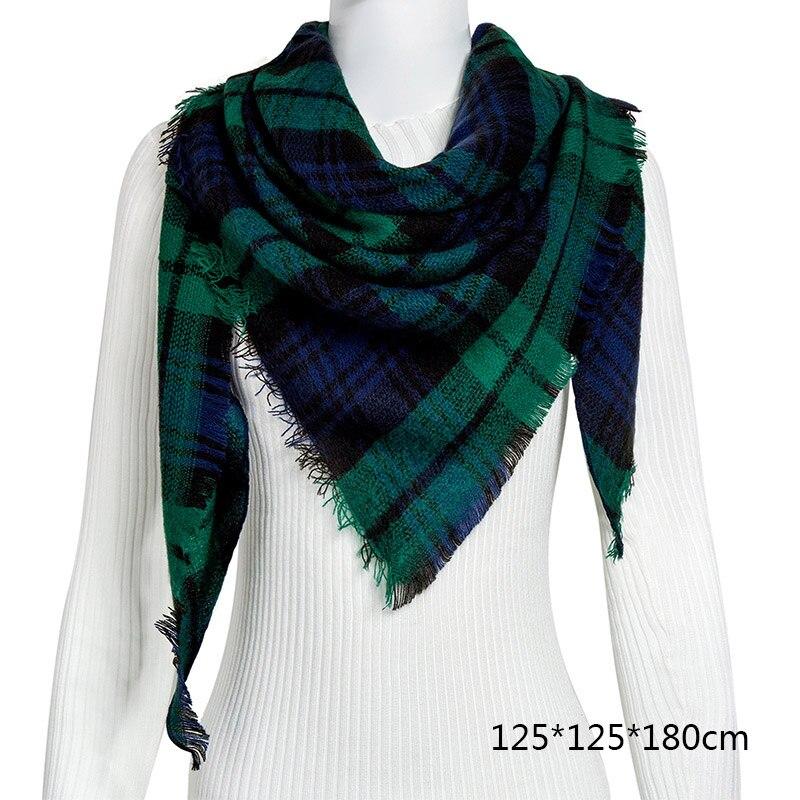 Горячая Распродажа, Модный зимний шарф, Женские повседневные шарфы, Дамское Клетчатое одеяло, кашемировый треугольный шарф,, Прямая поставка - Цвет: B4