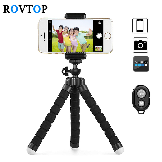 Rovtop Portable Tripod Sponge Octopus For iPhone Smartphone Remote Shutter Tripod for Gopro Camera With Phone Clip Holder Z2