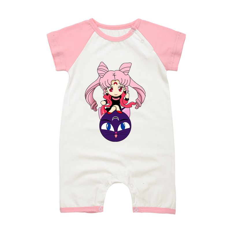 2017 Fashion New Baby Girls Romper Jumpsuit Sailor Moon Printing Summer Newborn Baby Clothing Infant Cotton Clothes newborn infant baby clothes girls love floral strap romper jumpsuit outfit sunsuit summer cotton baby onesie girls clothing