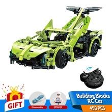453ピースrcビルディングブロックスーパーカーモデルビルディングキットセルフロックレンガでバッテリー対応レゴおもちゃギフト用キッズティーン