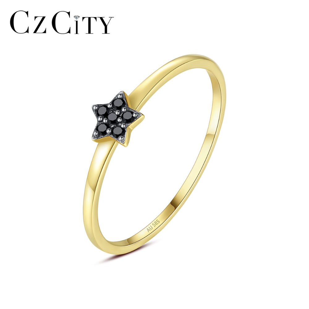 CZCITY Genuine 14K Yellow Gold Black Cubic Zircon Star Shaped Wedding Bands Rings for Women Fashion Circle Bridals Rings Jewelry