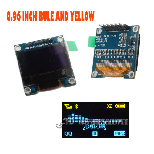 0.96 I2C IIC SPI Serial 128X64 Blue and Yellow OLED LCD LED Display Module for Arduino