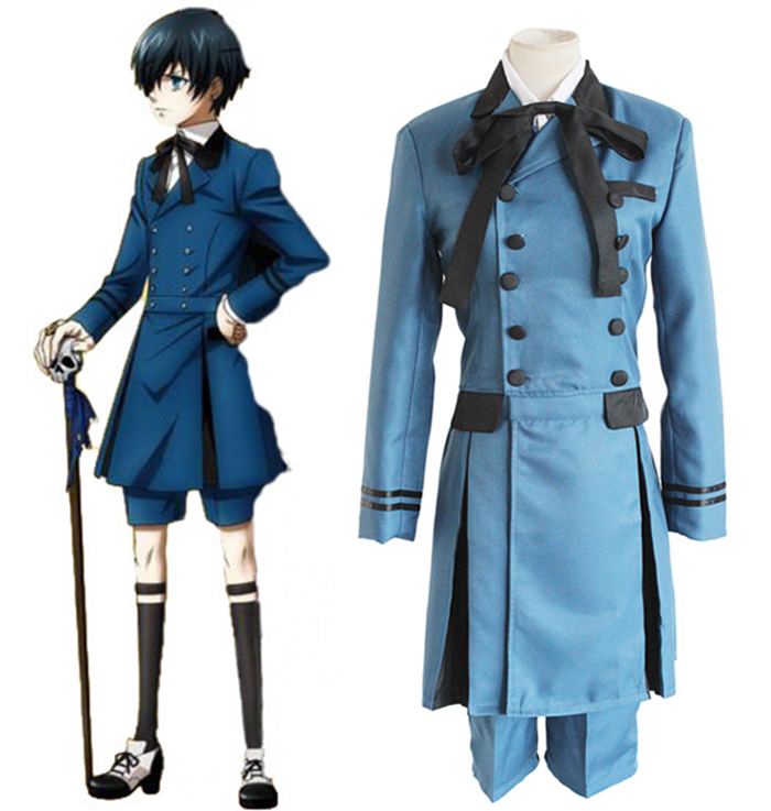 Anime Black Butler 2 Kuroshitsuji Ciel Phantomhive Uniform Cosplay Costume Full Set ( Top + Shirt + Shorts + Bowknot + Bow Tie )