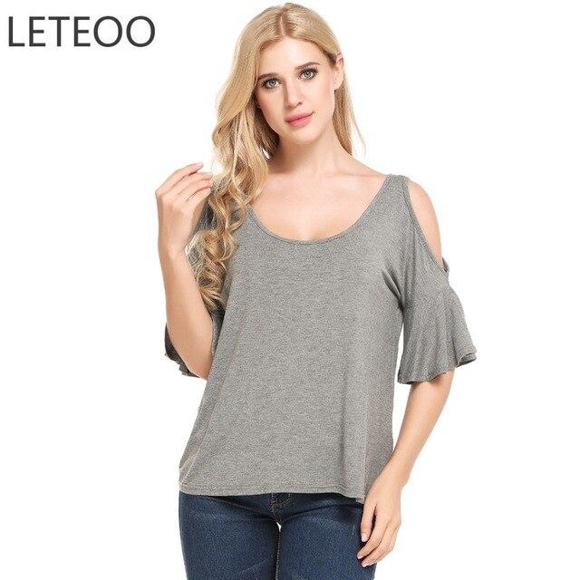 de06f81d41 LETEOO hombro frío Tops mujeres camiseta verano Tumblr ropa Ruffles Flare  manga camiseta Poleras Mujer S20