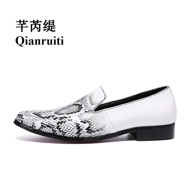 a84f098a0b35 Qianruiti Men Patent Leather Snakeskin Shoes Slip-on Loafers Men White Flats  Plus Size EU39
