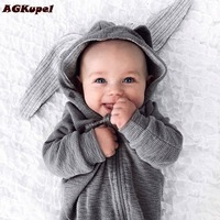 AGKupel Newborn Infant Baby Clothes For Boy Girl Cute Hare Ear Romper Jumpsuit Autumn Winter Warm