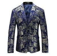 Men Blazer 2018 Slim Fit Mens Floral Blazer Casual Suit Jacket 5XL 6XL Plus Size Prom Stage Wear Brand Clothing