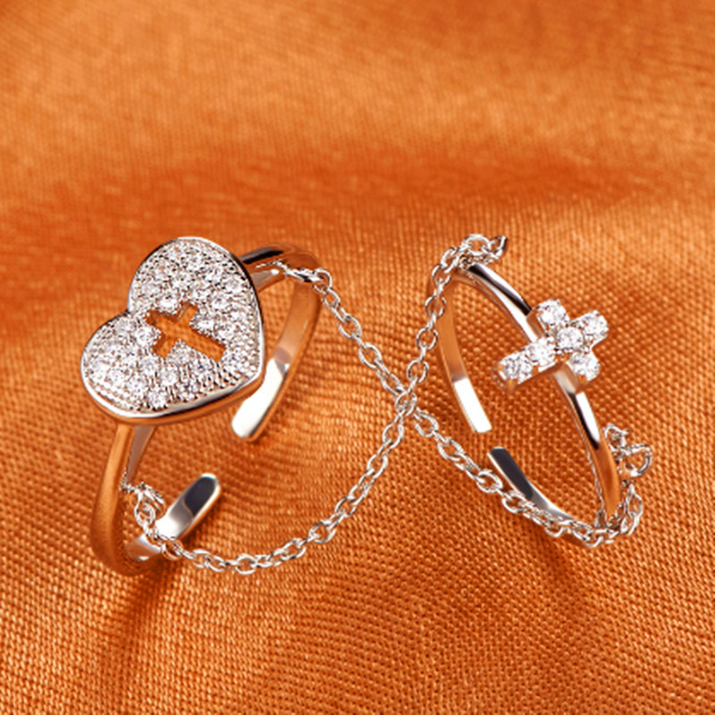 Mymiss925 silver ring multi-layer double layer finger ring love cross ring Women