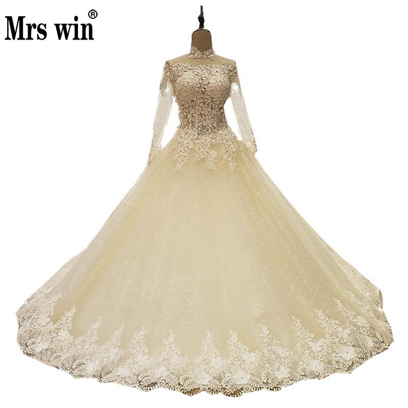 Wedding Dresses 2017 The High end Classic Flowers Vintage Embroidery 3/4 Sleeve High Neck Brush Train Princess Noble Ball Gown