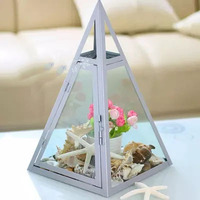 European American geometric glass flower room wedding flower box candlestick wind light glass horse lamp home decoration