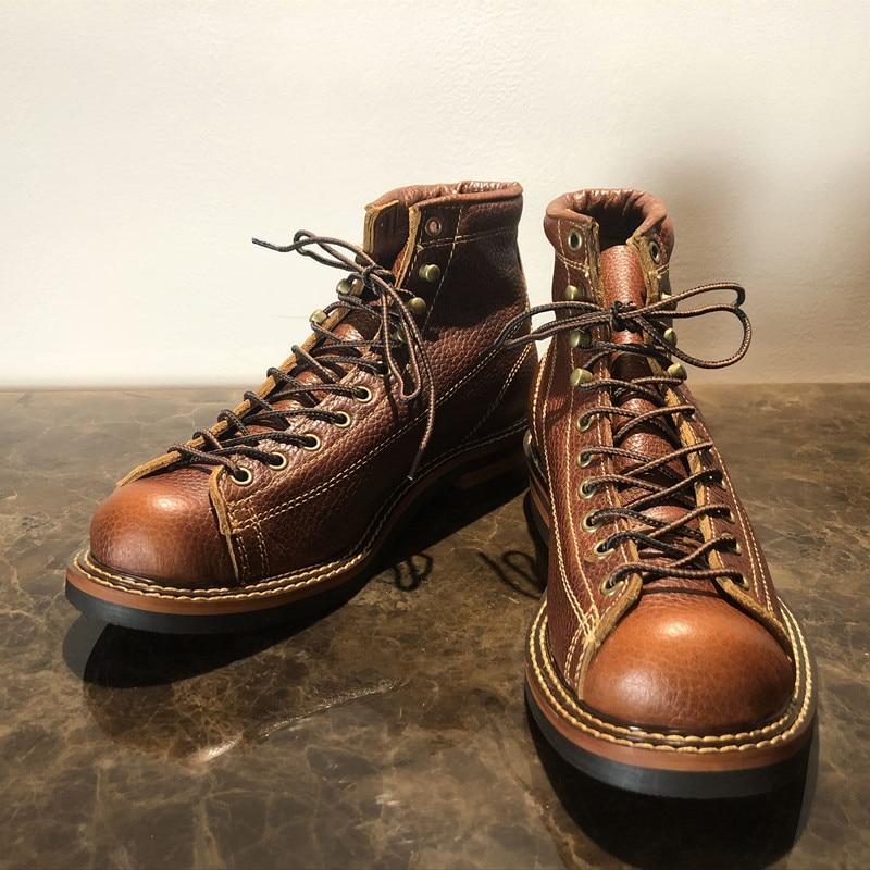 Męskie wiosna zimowe buty okrągłe Toe najwyższej jakości rocznika prawdziwa skóra skóry wołowej kostki buty na co dzień buty motocyklowe Unisex duży rozmiar w Buty motocyklowe od Buty na  Grupa 2