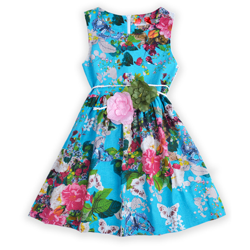 Girls Floral Summer Dresses for Baby Vestdios Kids Print Sundress Child Clothes Teenager Flower Sleeveless Dress Infant Clothing