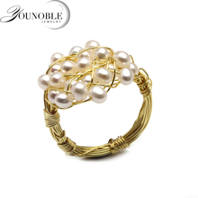 Wedding multi layer natural freshwater pearl ring women,trendy beautiful birthday gift