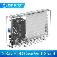 ORICO 2 Bay 2.5'' Transparent Hard Drive Enclosure SATA to USB 3.0 HDD Case Support UASP for 7 9.5 mm HDD SSD With 5V2A Adapter