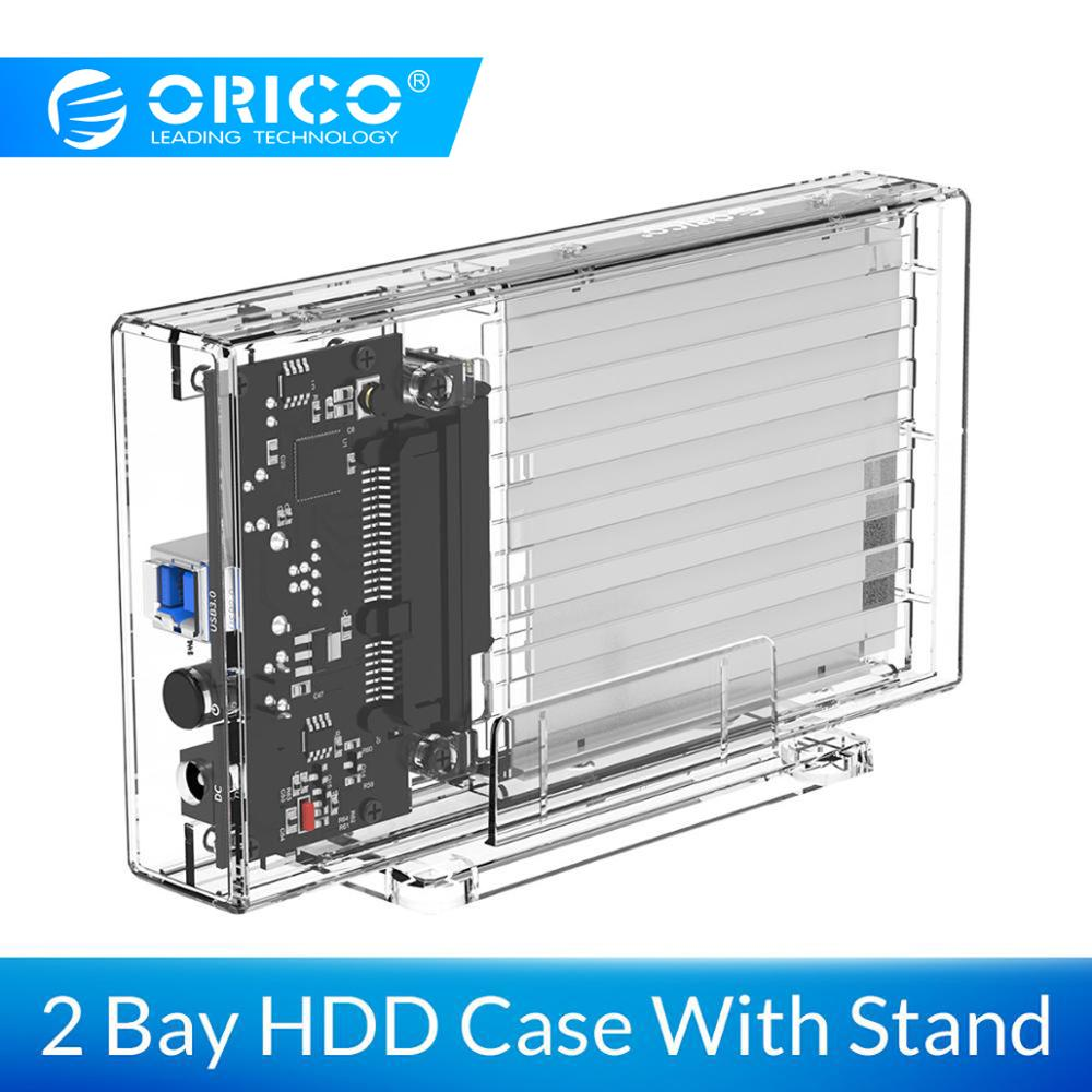 ORICO 2 Bay 2 5 Transparent Hard font b Drive b font Enclosure SATA to USB
