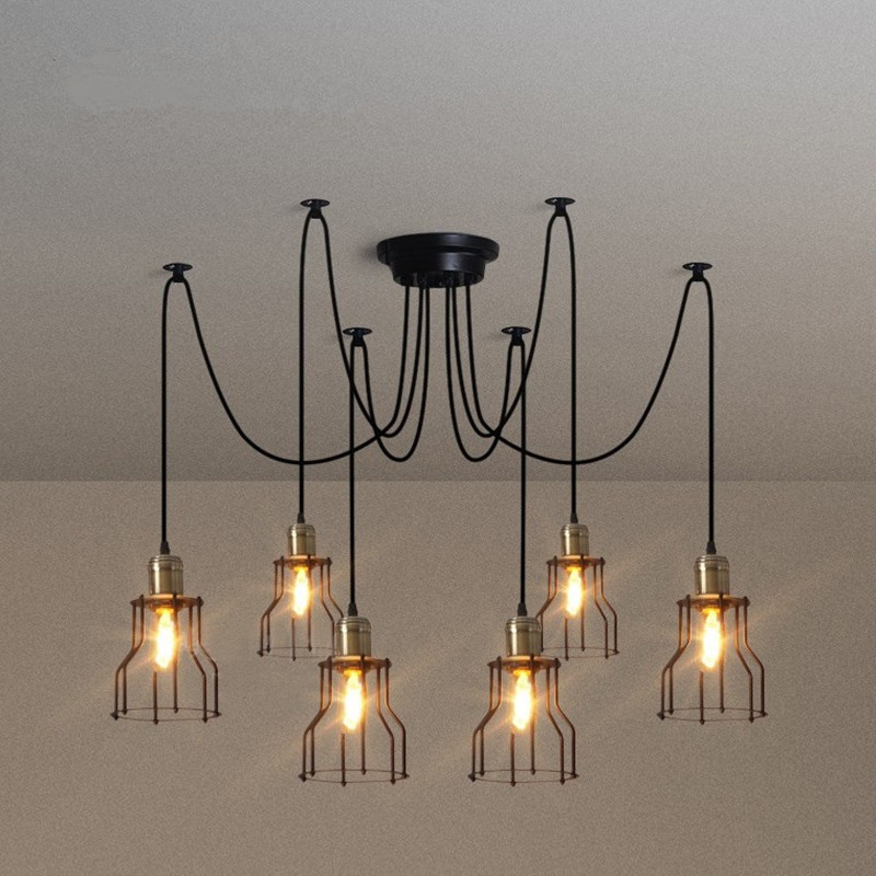 Nordic Retro Edison Bulb Light Chandelier Vintage Loft Antique DIY E27 Art Spider Pendant Lamp Home Lighting nordic vintage chandelier lamp pendant lamps e27 e26 edison creative loft art decorative chandelier light chandeliers ceiling