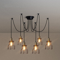 Nordic Retro Edison Bulb Light Chandelier Vintage Loft Antique DIY E27 Art Spider Pendant Lamp Home Lighting