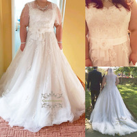 Overweight 2019 Tulle Plus Size Wedding Dress Women Girl Bride Gown Bridal Party Princess Cap Sleeves Handmade Flowers with Sash