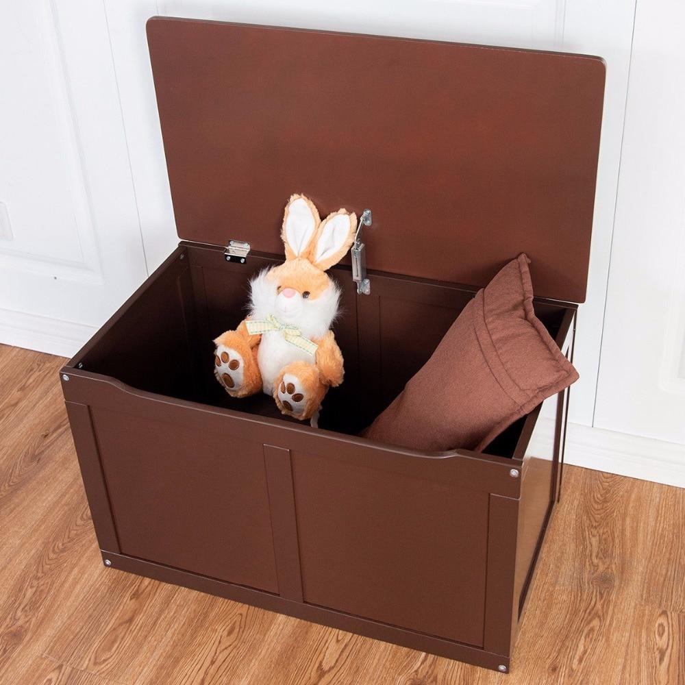 Wooden Kids Toy Storage Box Sitting Top Chest Organizer Large Bin Boys /& Girls