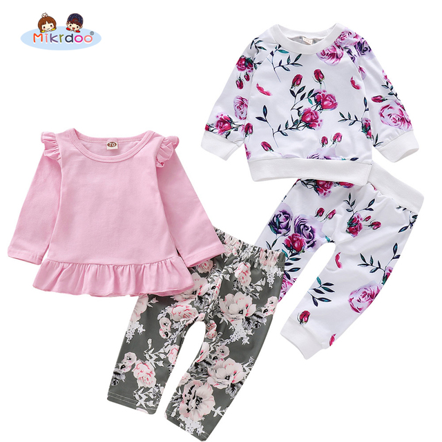 Toddler Infant Baby Girls Autumn Clothes Set Long Sleeve Ruffle Top Floral Print Pant Hat Cute Outfit Clothing