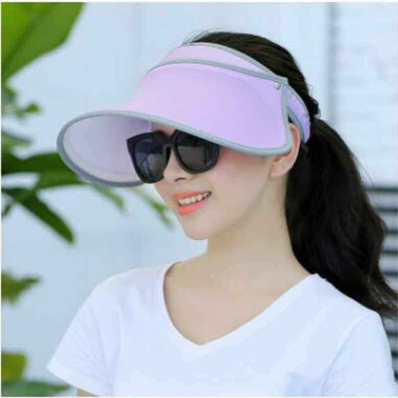 Katı Kadın Yaz Güneş Boş silindir şapka Katı Anti-uv Güneşlik Güneşlik Geniş Ağızlı Kadın plaj şapkası Bayan Açık Güneş Koruyucu Sürme Kap