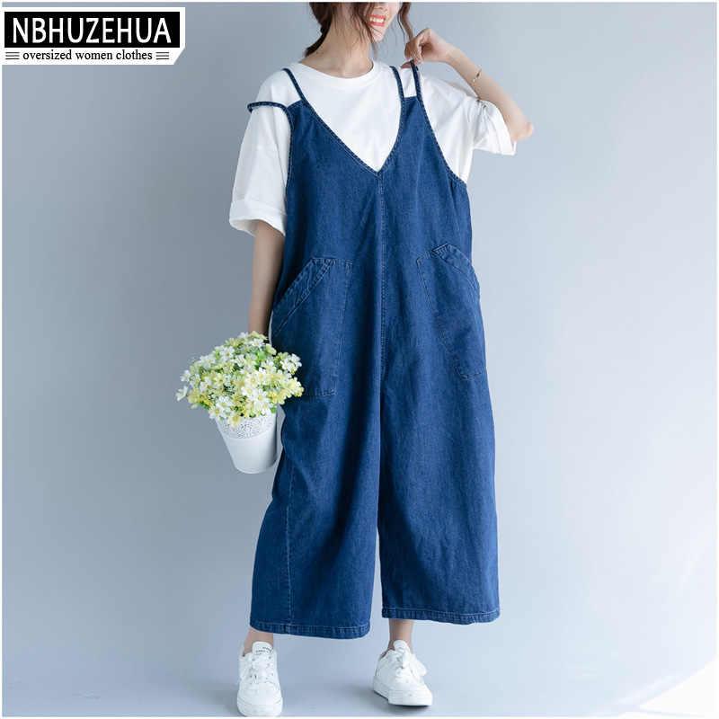 NBHUZEHUA 7G802 большой Размеры джинсовые комбинезоны Для женщин Комбинезоны Багги падения промежность брюки без бретелек Комбинезоны более Размеры d джинсы