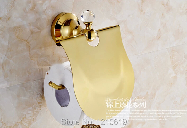 Newly US Crystal Ball Bathroom Golden Finish Toilet Paper Holder With Cover Roll Tissue Rack Wall Mount