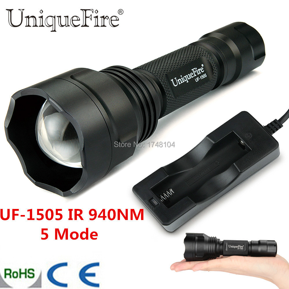 Uniquefire Night Vision Zoomable UF-1505 IR 940NM Infrared LED Flashlight 3 Switch Modes 38mm Convex Lens Torch Free Shipping free shipping newest uniquefire mini rgw002 aspherical lens zoomable led flashlight white red green emitting color for camp