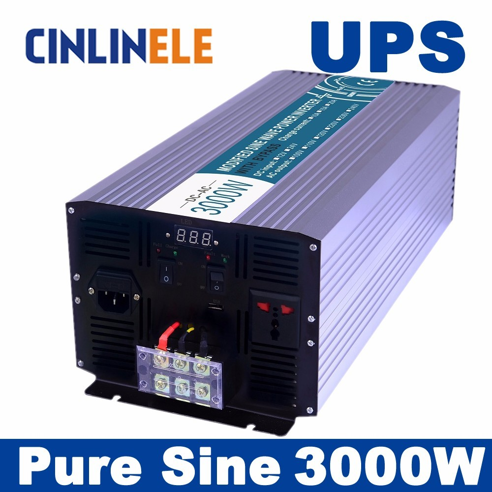 Universal inverter UPS+Charger  3000W Pure Sine Wave Inverter  CLP3000A  DC 12V 24V 48V to AC 110V 220V 3000w power inverter