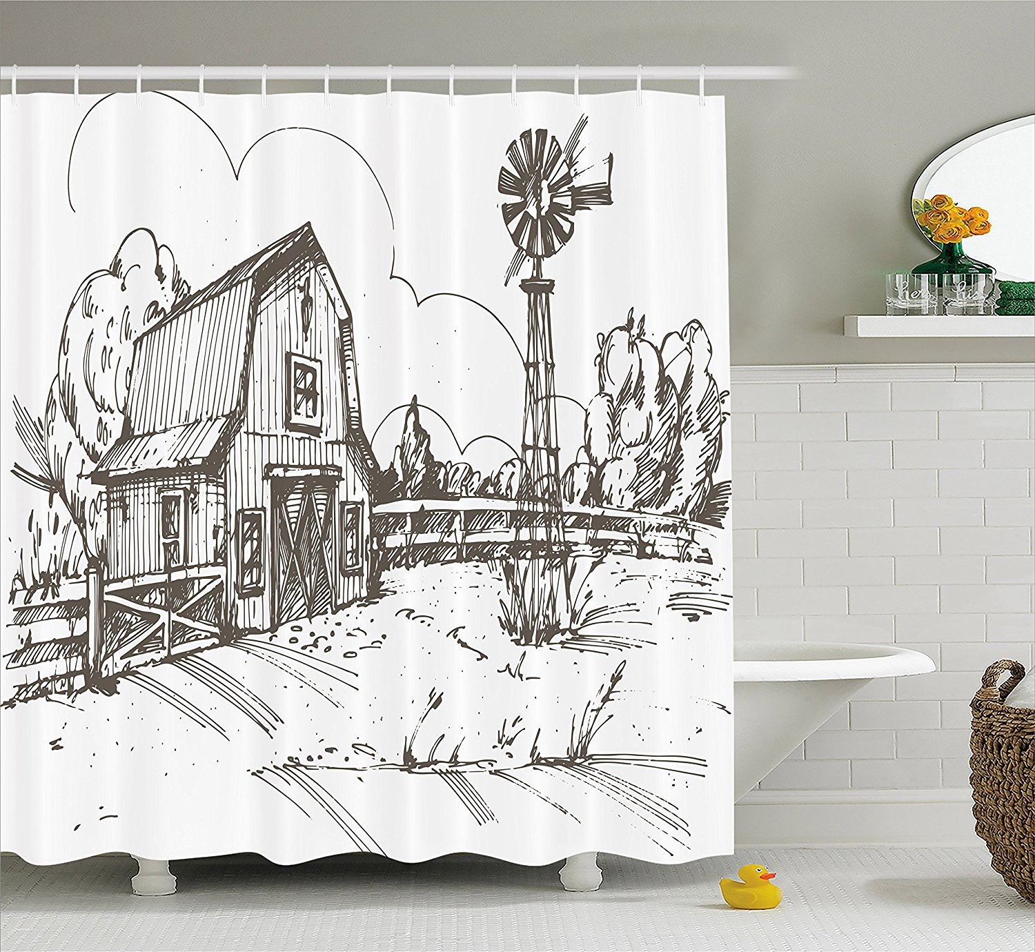 Windmill Decor Shower Curtain Rustic Barn Farmhouse Hand Drawn Illustration Countryside Rural Meadow Bathroom Set In Curtains From Home