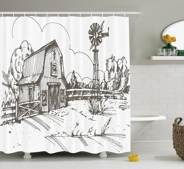 Windmill Decor Shower Curtain Rustic Barn Farmhouse Hand Drawn Illustration Countryside Rural Meadow Bathroom Set
